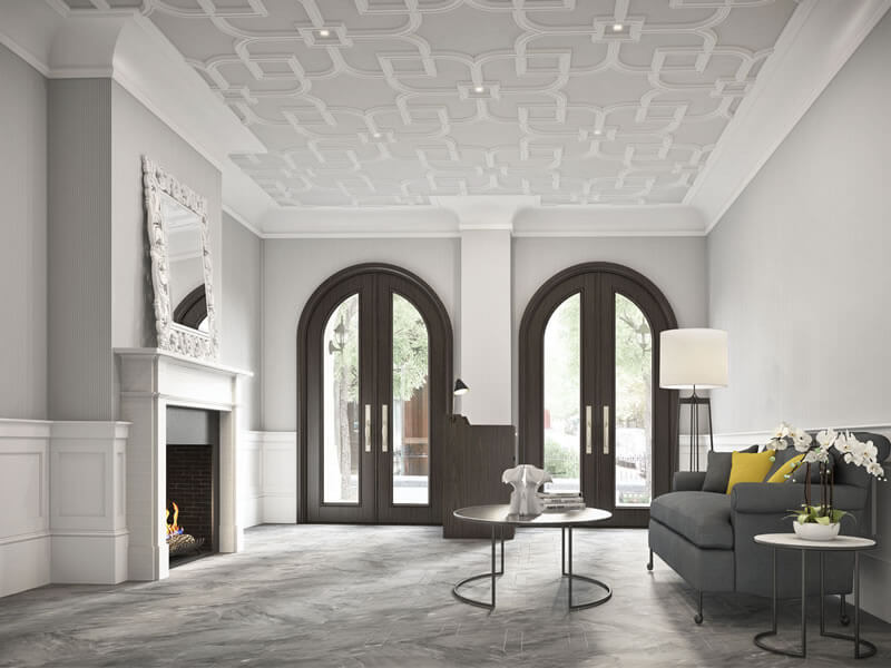 Ornamental plaster wall cornices and architectural plaster ceiling design in upscale condo lobby.