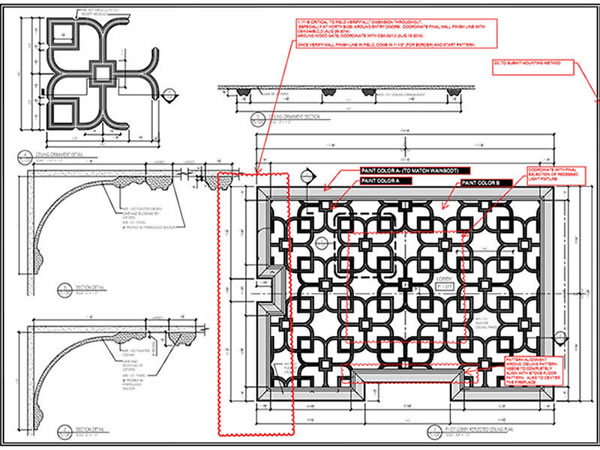 Architectural drawings of plaster ceiling design specifications.