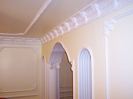 Cornices and decorative wall and ceiling plaster work