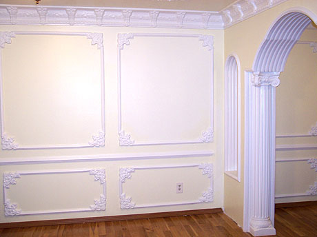 Decorative wall and ceiling plaster work and cornices