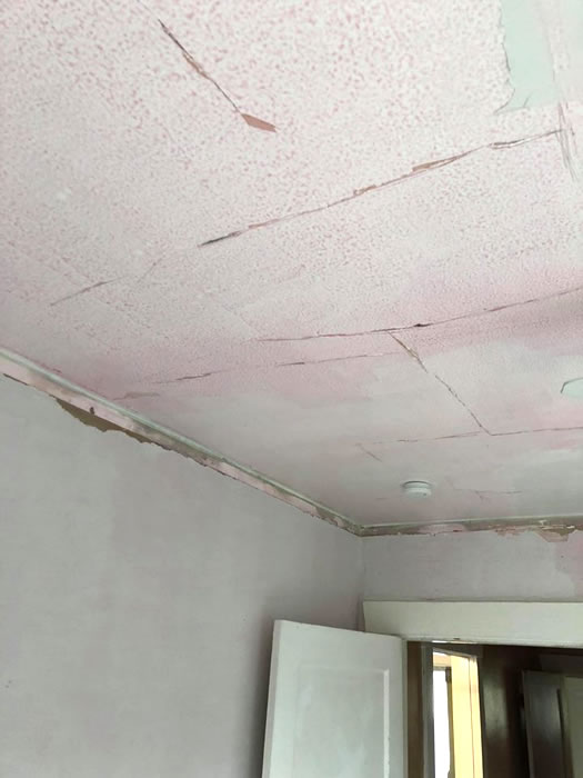Ceiling and wall plaster damage.