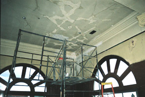 Ornamental plaster restoration in historic 1908 cathedral